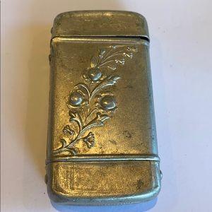 Antique match safe holder hinged box